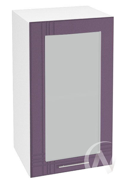 "Кухня ""Струна"": Шкаф верхний со стеклом 400, ШВС 400 (фиолетовый металлик/корпус белый)"