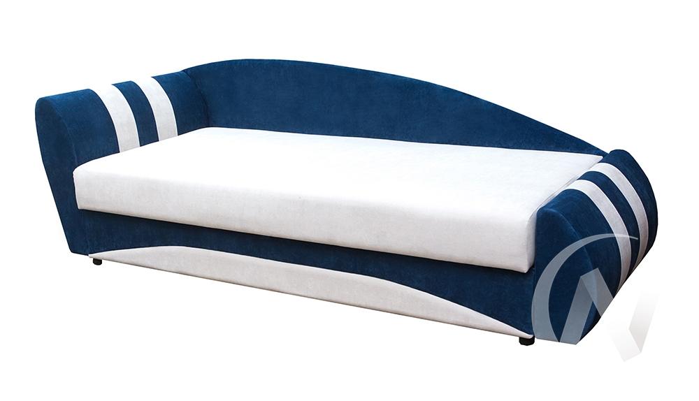 Диван прямой Форсаж левый (белый/велюр синий 42/вставка белый к.з)  в Томске — интернет магазин МИРА-мебель