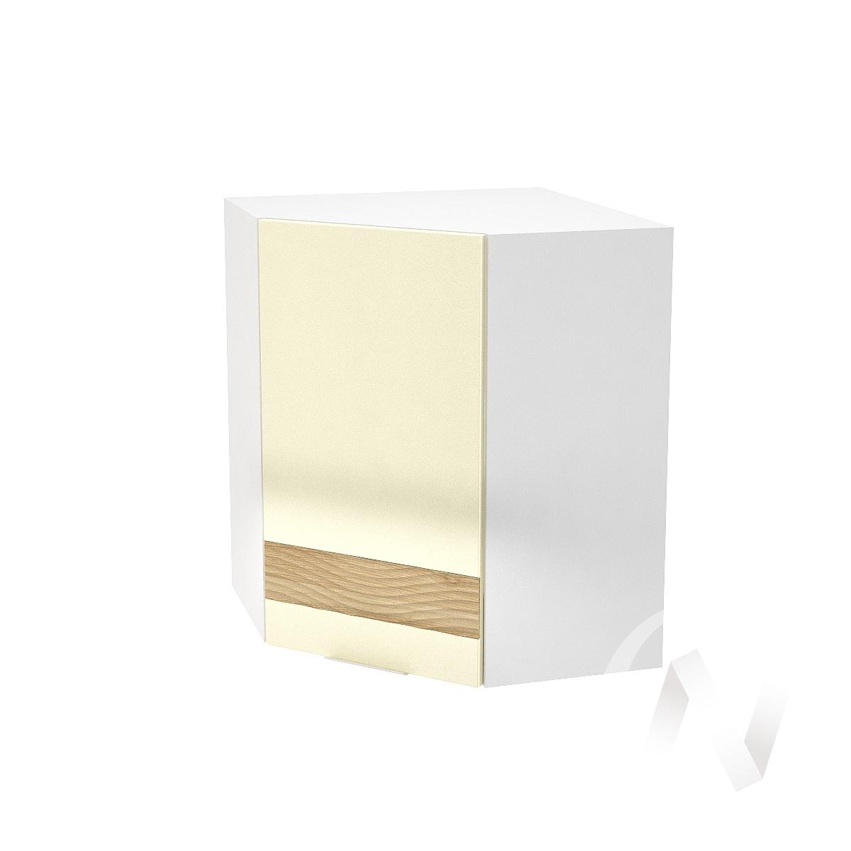 """Кухня """"Терра"""": Шкаф верхний угловой левый 590, ШВУ 590 (ваниль софт/ель карпатская/корпус белый)"""