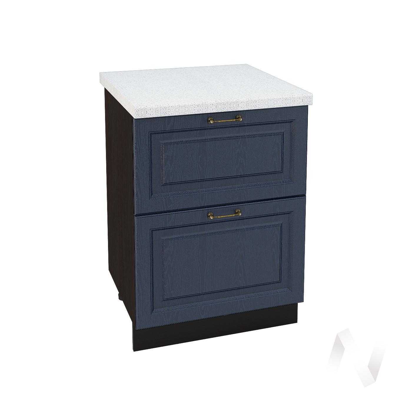 """Кухня """"Ницца"""": Шкаф нижний с 2-мя ящиками 600, ШН2Я 600 (Дуб чернильный/корпус венге)"""