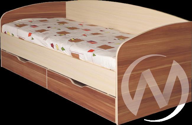 Евро М16 Кровать с ящиками 0,800*2000  (ясень бежевый - слива валлис)
