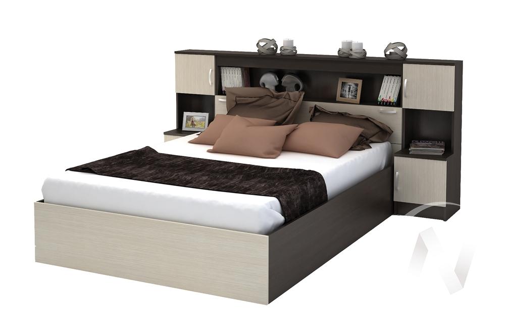Кровать с прикроватным блоком КР 552 Спальня Бася (венге/белфорт)