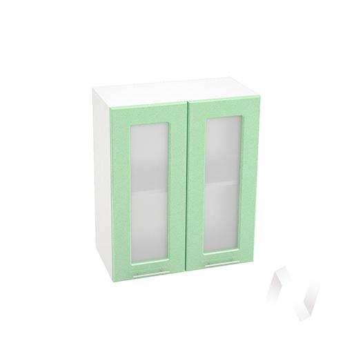 """Кухня """"Вега"""": Шкаф верхний со стеклом 600, ШВС 600 (салатовый металлик/корпус белый)"""
