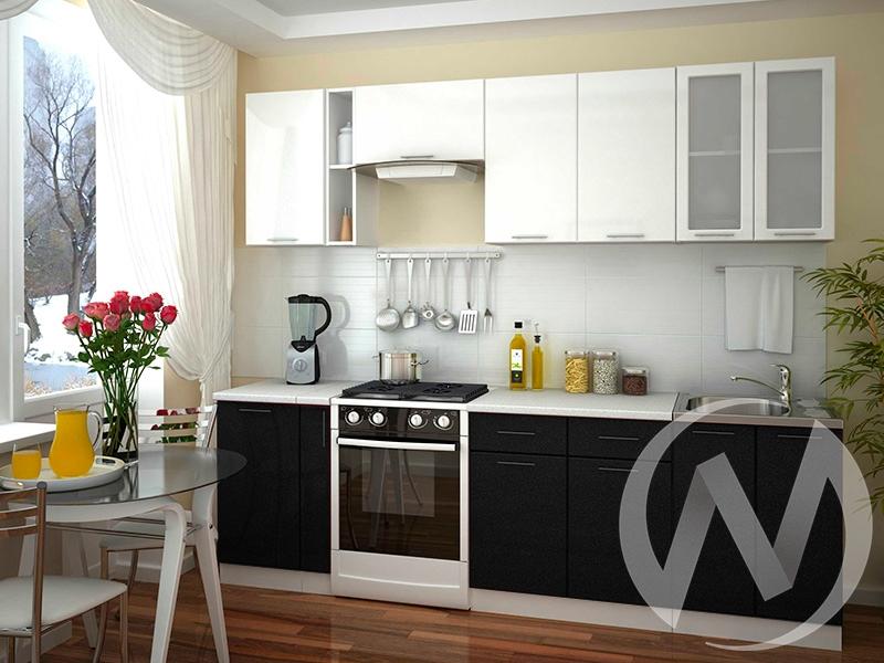 "Кухня ""Валерия-М"": Белый металлик/Черный металлик (корпус белый)"