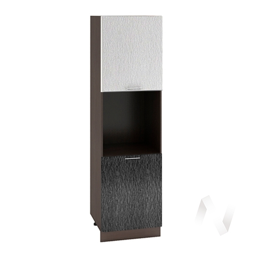 """Кухня """"Валерия-М"""": Шкаф пенал 600, ШП 600 (дождь серый/черный/корпус венге)"""