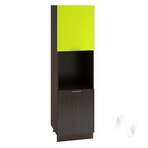 "Кухня ""Валерия-М"": Шкаф пенал 600, ШП 600 (лайм глянец/венге/корпус венге)"