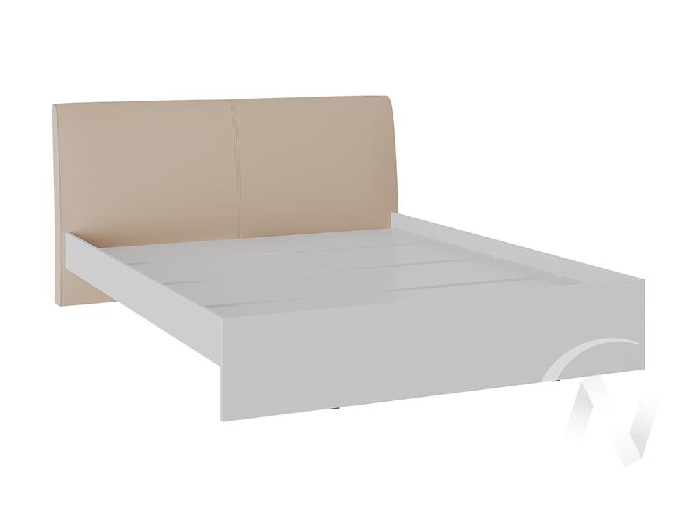 Кровать Доминика 1,4 основание ЛДСП (белый глянец/кожзам бежевый)  в Томске — интернет магазин МИРА-мебель