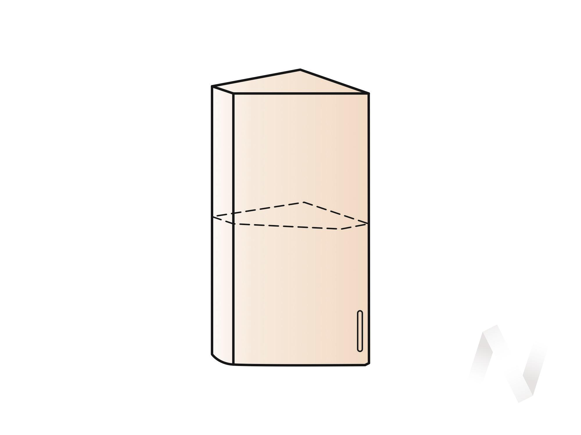 """Кухня """"Люкс"""": Шкаф верхний торцевой 224, ШВТ 224 (Шелк жемчуг/корпус белый) в Новосибирске в интернет-магазине мебели kuhnya54.ru"""