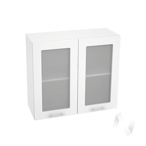 """Кухня """"Валерия-М"""": Шкаф верхний со стеклом 800, ШВС 800 (белый глянец/корпус белый)"""