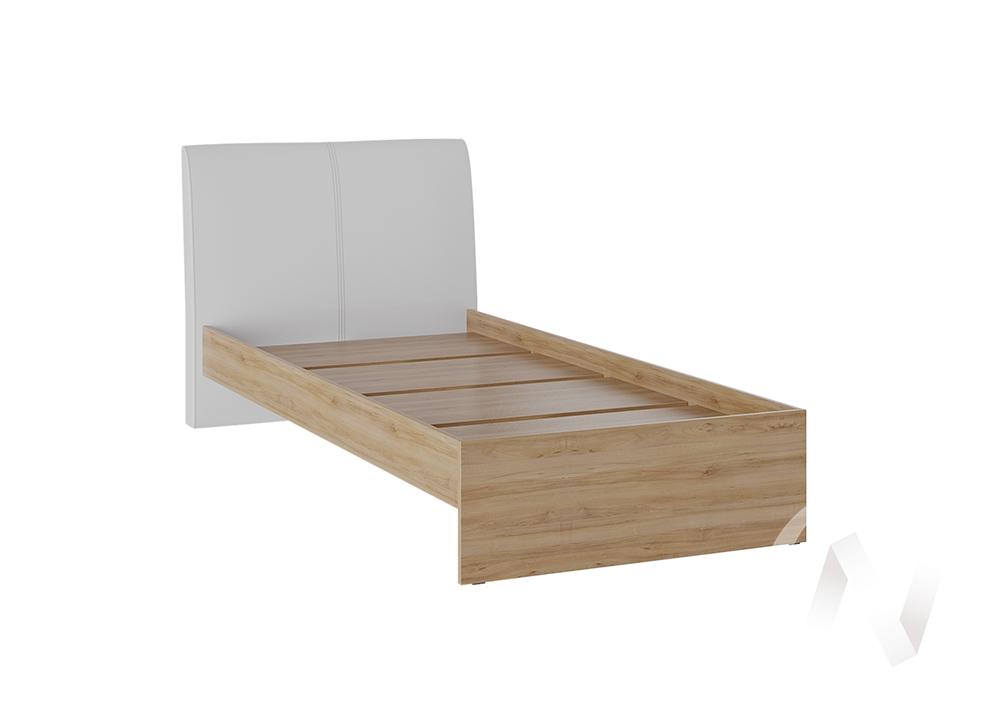 Кровать Доминика 1,2 основание ЛДСП (дуб крафт золотой/кожзам белый)  в Томске — интернет магазин МИРА-мебель