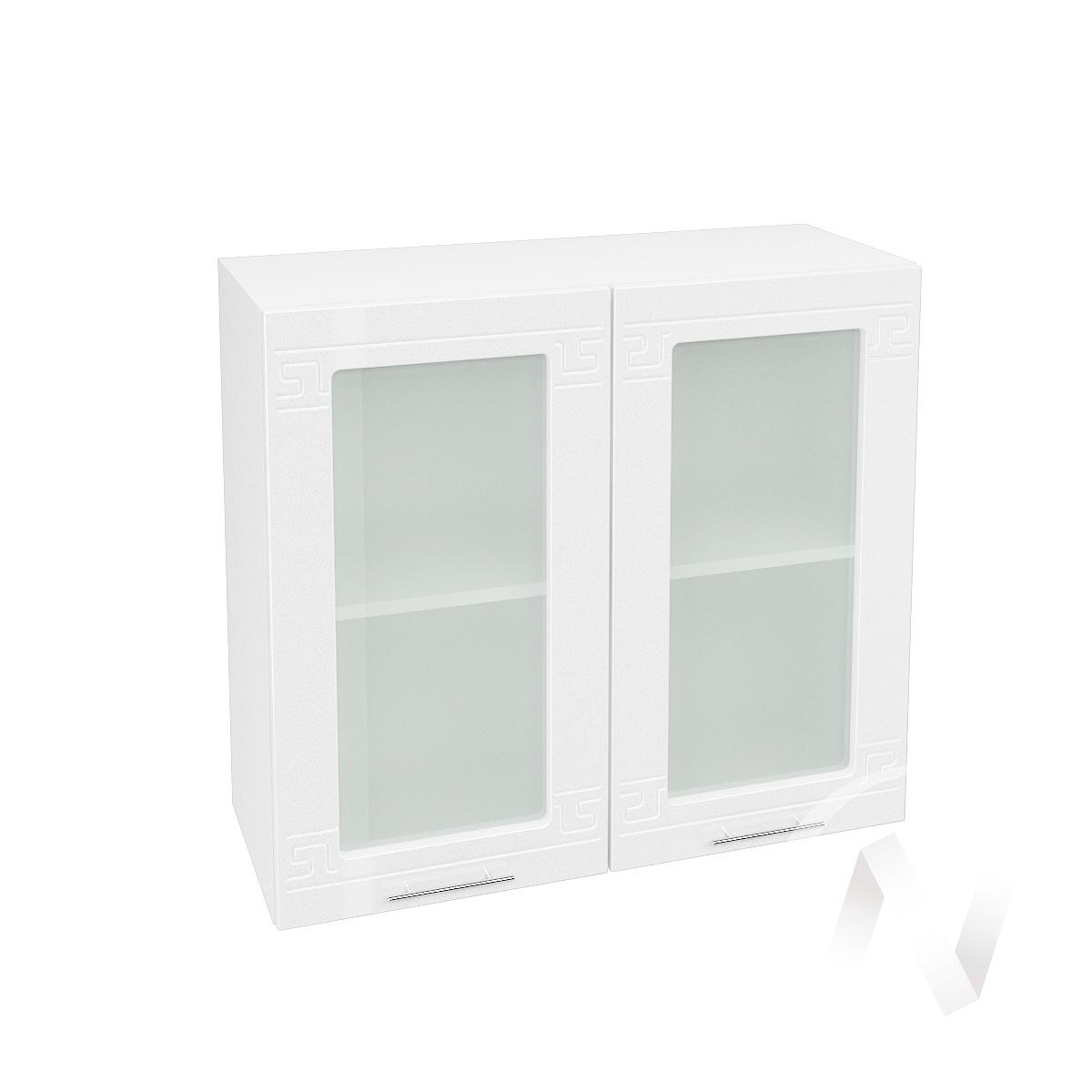 """Кухня """"Греция"""": Шкаф верхний со стеклом 800, ШВС 800 (белый металлик/корпус белый)"""