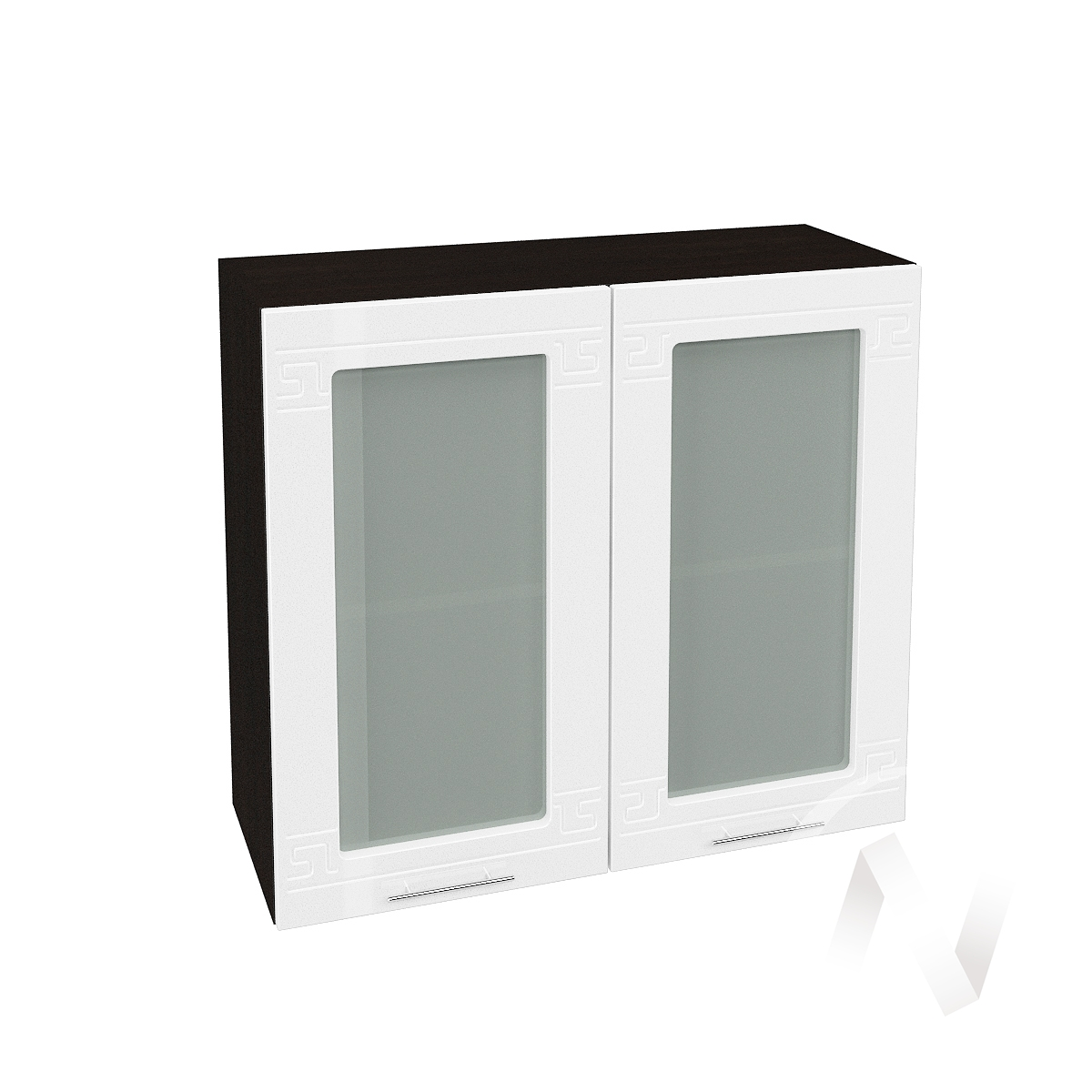 "Кухня ""Греция"": Шкаф верхний со стеклом 800, ШВС 800 (белый металлик/корпус венге)"