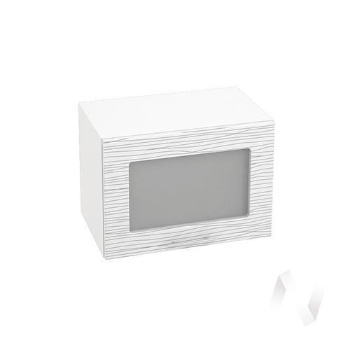 """Кухня """"Валерия-М"""": Шкаф верхний горизонтальный со стеклом 500, ШВГС 500 (Страйп белый/корпус белый)"""