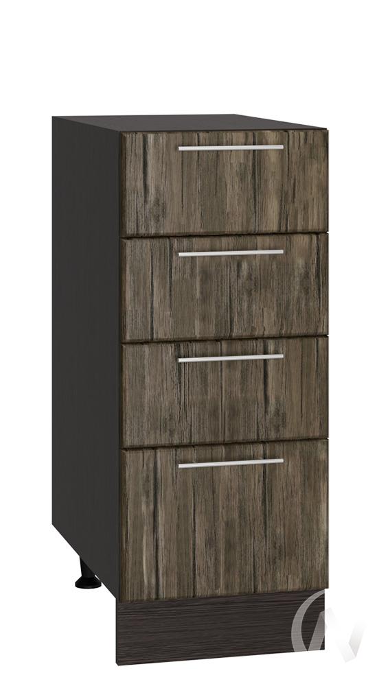 """Кухня """"Норден"""": Шкаф нижний с 4-мя ящиками 300, ШН4Я 300 (старое дерево/корпус венге)"""