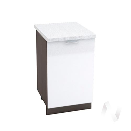 "Кухня ""Валерия-М"": Шкаф нижний 500, ШН 500 (белый металлик/корпус венге)"
