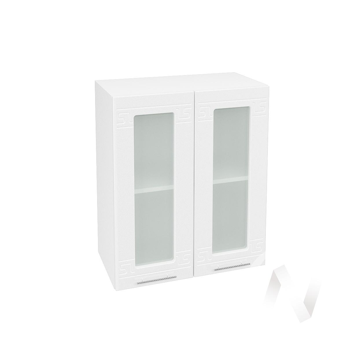 """Кухня """"Греция"""": Шкаф верхний со стеклом 600, ШВС 600 (белый металлик/корпус белый)"""