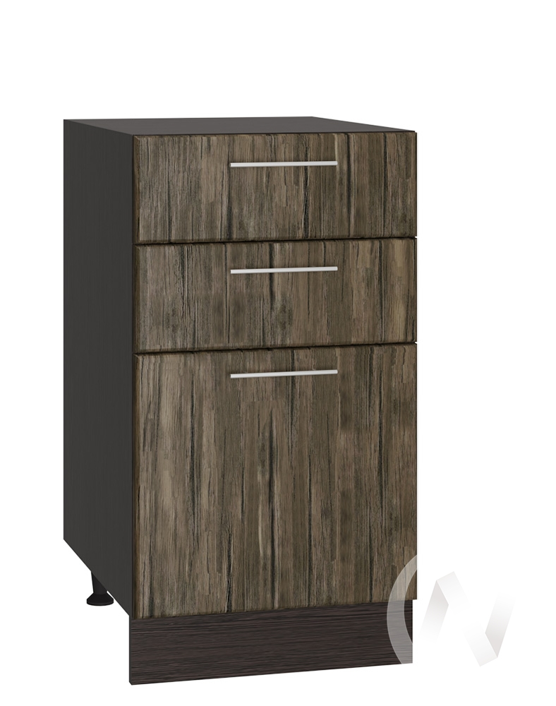 """Кухня """"Норден"""": Шкаф нижний с 3-мя ящиками 400, ШН3Я 400 (старое дерево/корпус венге)"""