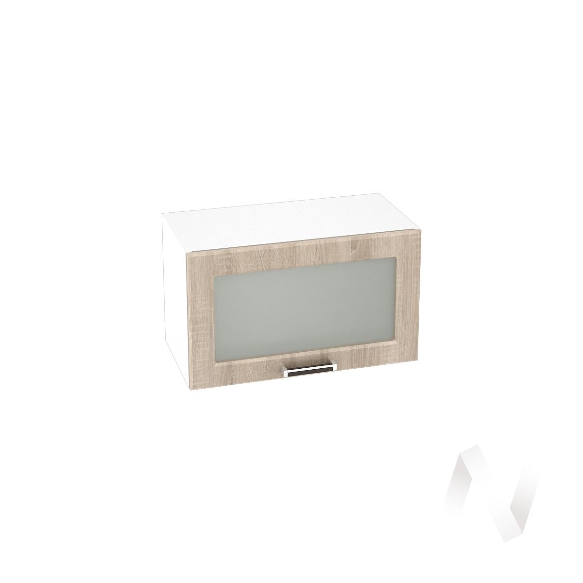 """Кухня """"Прага"""": Шкаф верхний горизонтальный со стеклом 600, ШВГС 600 (дуб сонома/корпус белый)"""