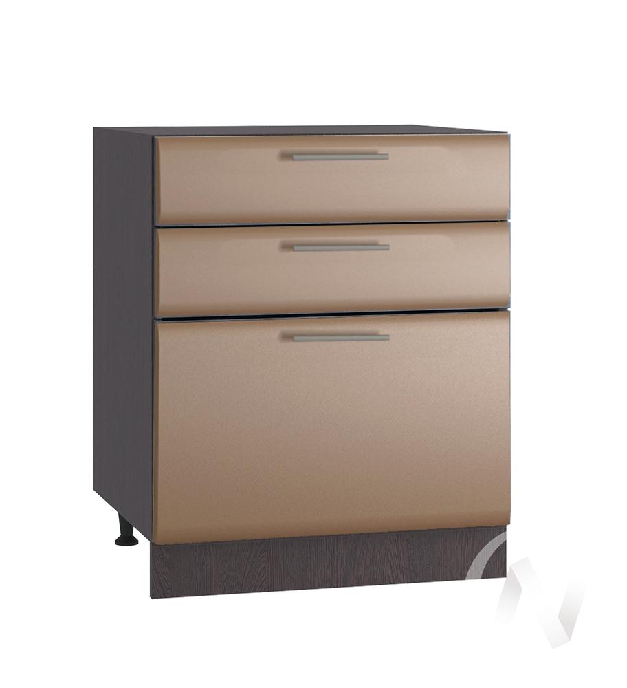"""Кухня """"Люкс"""": Шкаф нижний с 3-мя ящиками 600, ШН3Я 600 (Шоколад матовый/корпус венге)"""