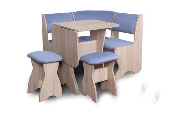 """Набор мебели для кухни """"Тюльпан"""" мини (дуб сонома/велюр голубой)"""