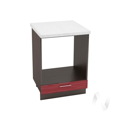 """Кухня """"Валерия-М"""": Шкаф нижний под духовку 600, ШНД 600 (Страйп красный/корпус венге)"""