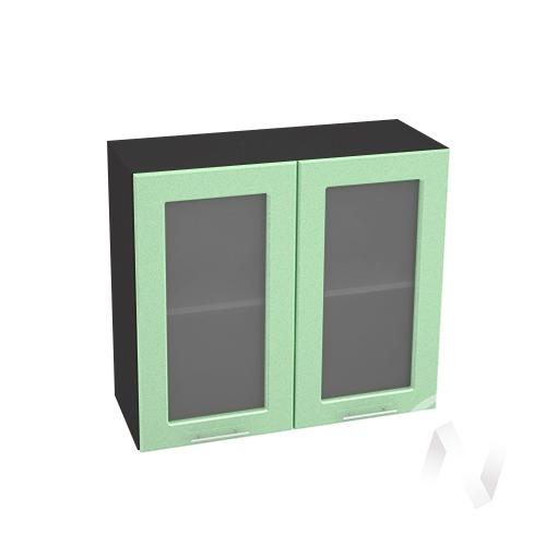 """Кухня """"Вега"""": Шкаф верхний со стеклом 800, ШВС 800 (салатовый металлик/корпус венге)"""