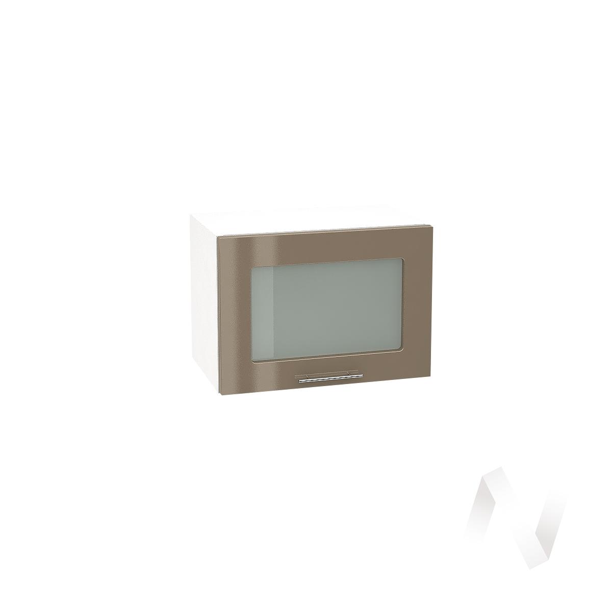 """Кухня """"Валерия-М"""":Шкаф верхний горизонтальный со стеклом 500,ШВГС 500 (Капучино глянец/корпус белый)"""
