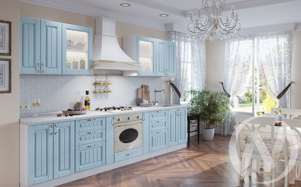 "Кухня ""Прованс"": Голубая патина (корпус белый)"