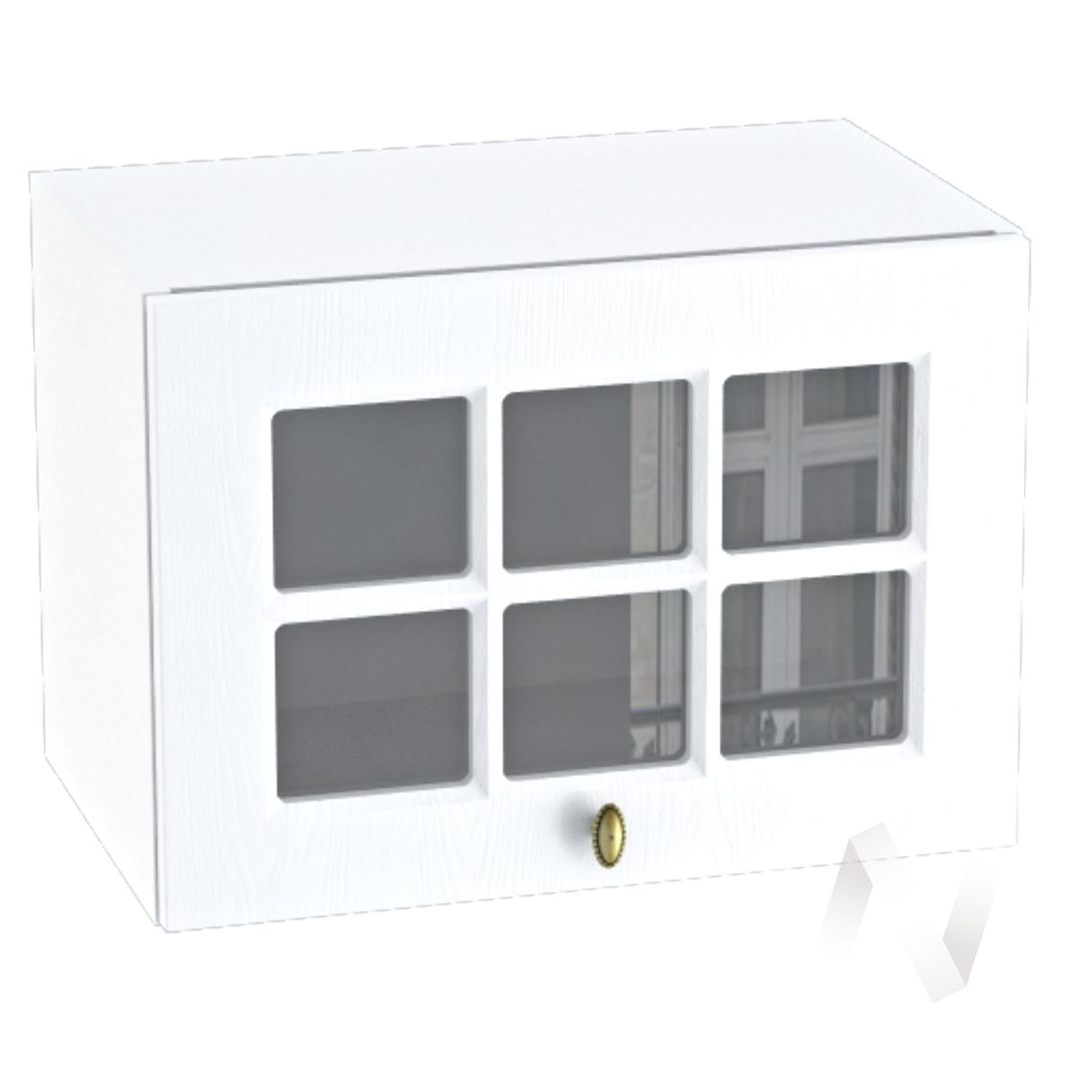 """Кухня """"Прованс"""": Шкаф верхний горизонтальный со стеклом 500, ШВГС 500 (белое дерево/корпус белый)"""