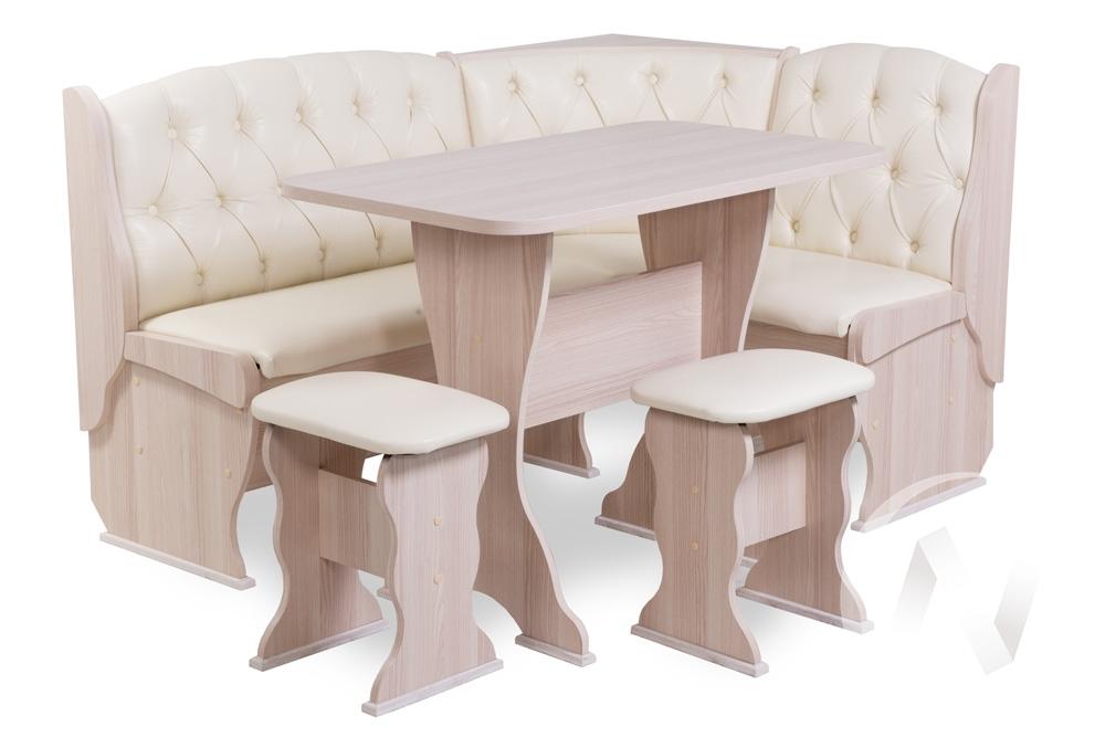 """Набор мебели для кухни """"Орхидея Люкс"""" (ясень/экокожа крем)"""