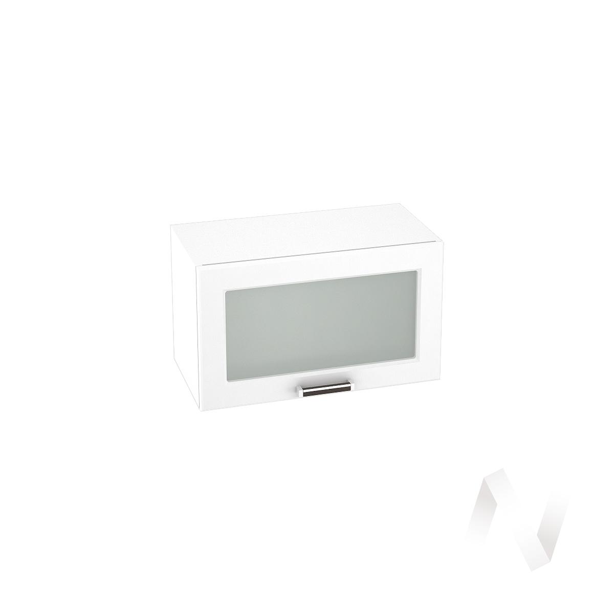 """Кухня """"Прага"""": Шкаф верхний горизонтальный со стеклом 600, ШВГС 600 (белое дерево/корпус белый)"""