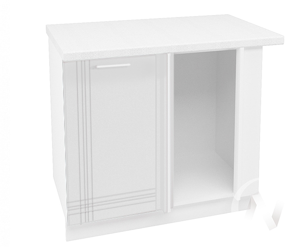 """Кухня """"Струна"""": Шкаф нижний угловой 990, ШНУ 990 (белый металлик/корпус белый)"""