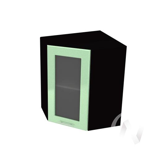 """Кухня """"Вега"""": Шкаф верхний угловой со стеклом 590, ШВУС 590 (салатовый металлик/корпус венге)"""