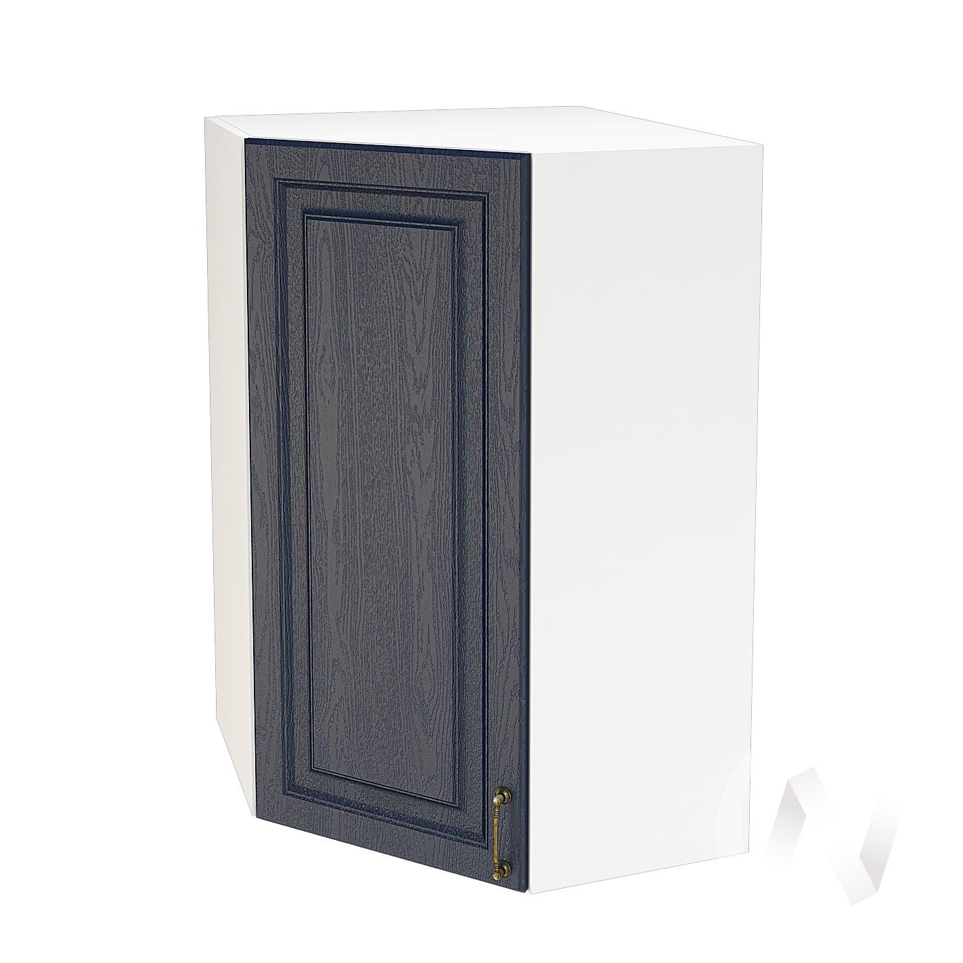 """Кухня """"Ницца"""": Шкаф верхний угловой 599, ШВУ 599 (Дуб чернильный/корпус белый)"""