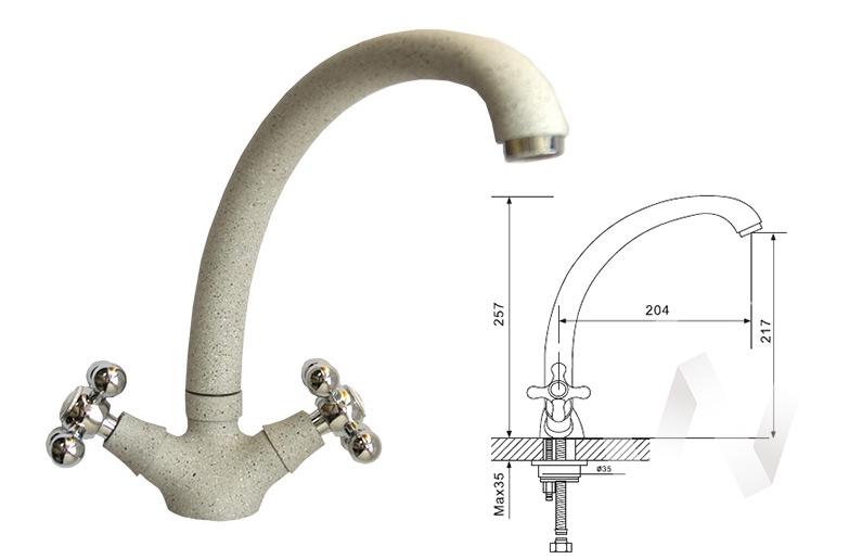 Смеситель керамический U-013 (белый 331)  в Томске — интернет магазин МИРА-мебель