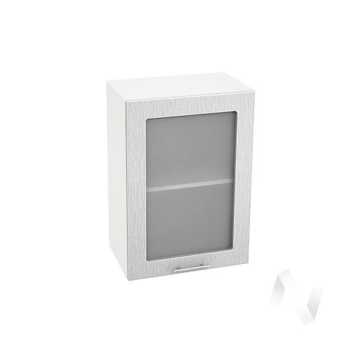 """Кухня """"Валерия-М"""": Шкаф верхний со стеклом 500, ШВС 500 (дождь серый/корпус белый)"""