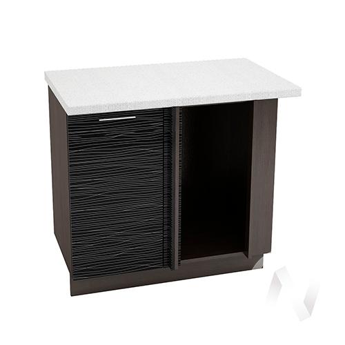 """Кухня """"Валерия-М"""": Шкаф нижний угловой 990М, ШНУ 990М (Страйп черный/корпус венге)"""