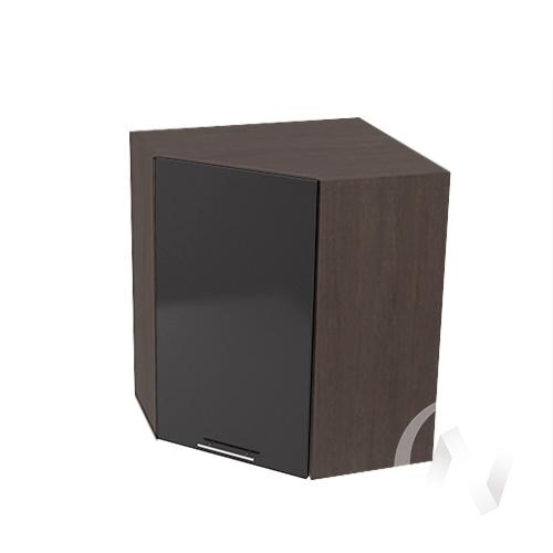 """Кухня """"Валерия-М"""": Шкаф верхний угловой 590, ШВУ 590 (черный металлик/корпус венге)"""