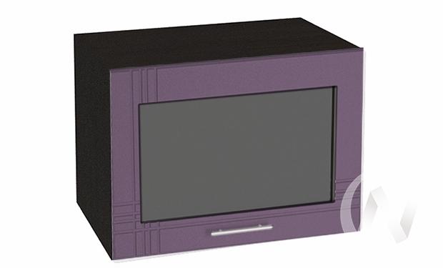 """Кухня """"Струна"""": Шкаф верхний горизонтальный со стеклом 500, ШВГС 500 (фиолет. металик/корпус венге)"""