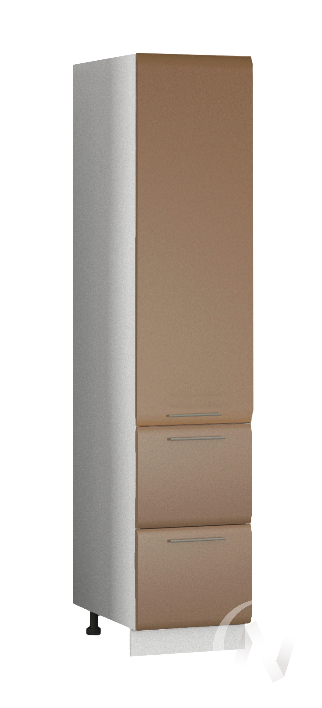 """Кухня """"Люкс"""": Шкаф пенал с 2-мя ящиками 400, ШП2Я 400 (Шоколад матовый/корпус белый)"""