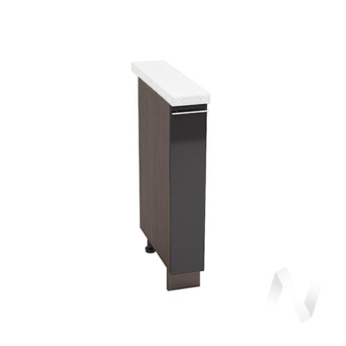 """Кухня """"Валерия-М"""": Шкаф нижний бутылочница 150, ШНБ 150 (черный металлик/корпус венге)"""