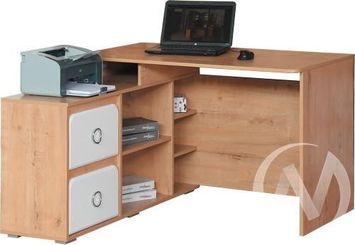 Скай М2 Стол компьютерный угловой левый (дуб бунратти/белый глянец)