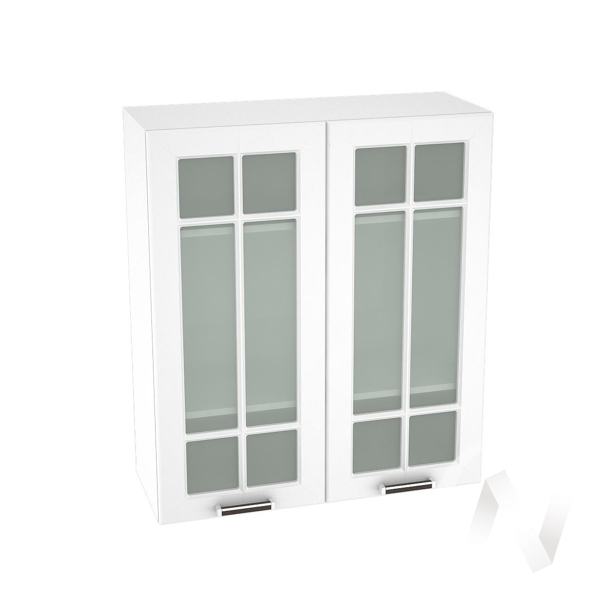 """Кухня """"Прага"""": Шкаф верхний со стеклом 809, ШВС 809 (белое дерево/корпус белый)"""