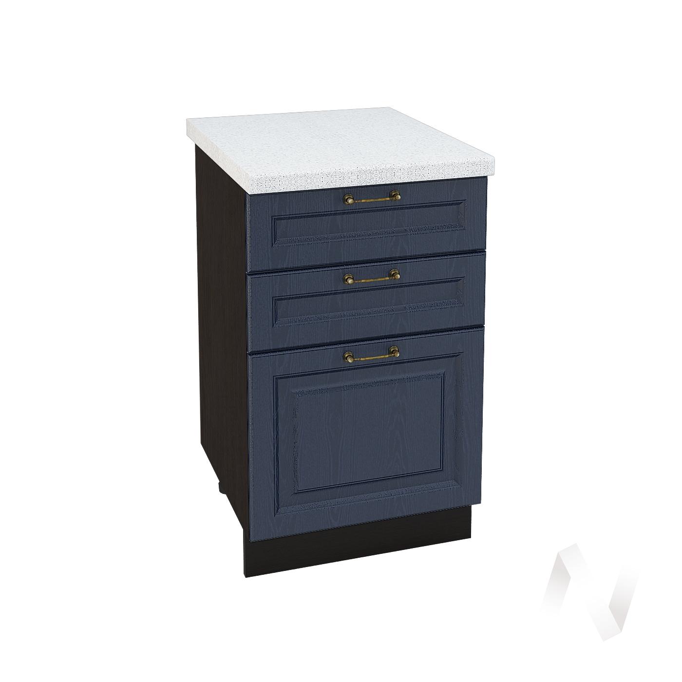 """Кухня """"Ницца"""": Шкаф нижний с 3-мя ящиками 500, ШН3Я 500 (Дуб чернильный/корпус венге)"""
