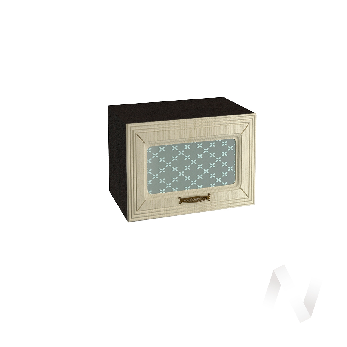 """Кухня """"Изабель"""": Шкаф верхний горизонтальный со стеклом 500, ШВГС 500 (корпус венге)"""