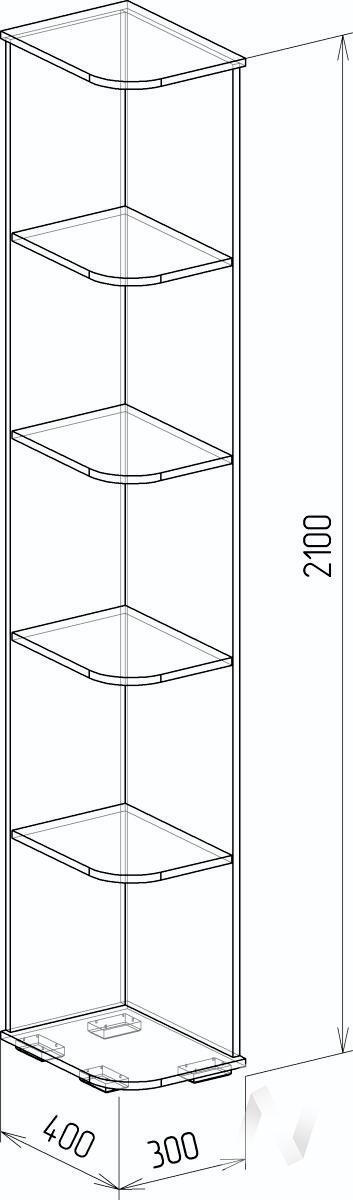 Космос М11 Угол завершающий (дуб бунратти/бетон чикаго)  в Томске — интернет магазин МИРА-мебель