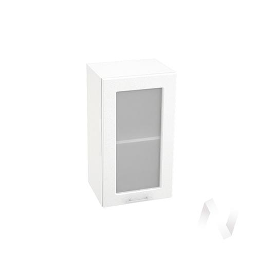 "Кухня ""Вега"": Шкаф верхний со стеклом 400, ШВС 400 (белый металлик/корпус белый)"