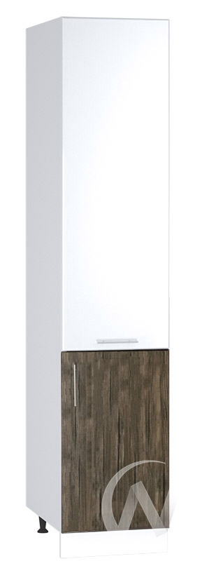 "Кухня ""Норден"": Шкаф пенал 400, ШП 400 (старое дерево/белый глянец/корпус белый)"