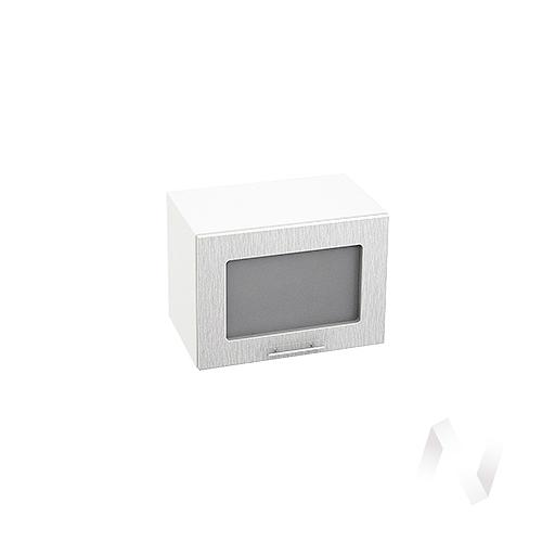 """Кухня """"Валерия-М"""": Шкаф верхний горизонтальный со стеклом 500, ШВГС 500 (дождь серый/корпус белый)"""