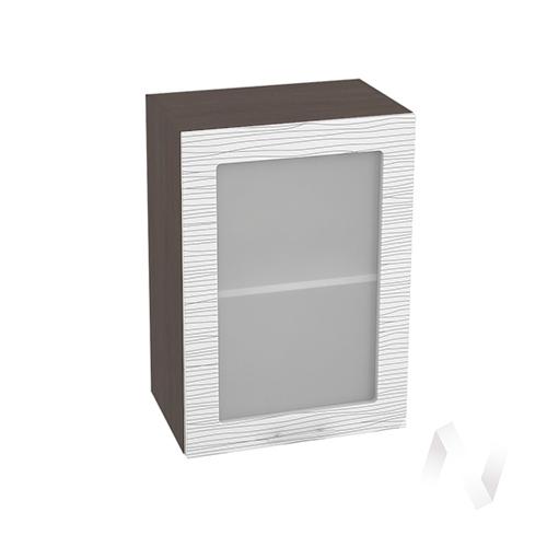"""Кухня """"Валерия-М"""": Шкаф верхний со стеклом 500, ШВС 500 (Страйп белый/корпус венге)"""